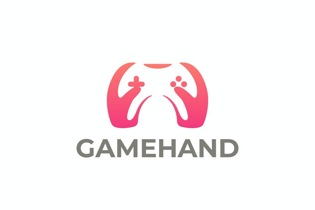 Game Joystick and Hands Logo Template