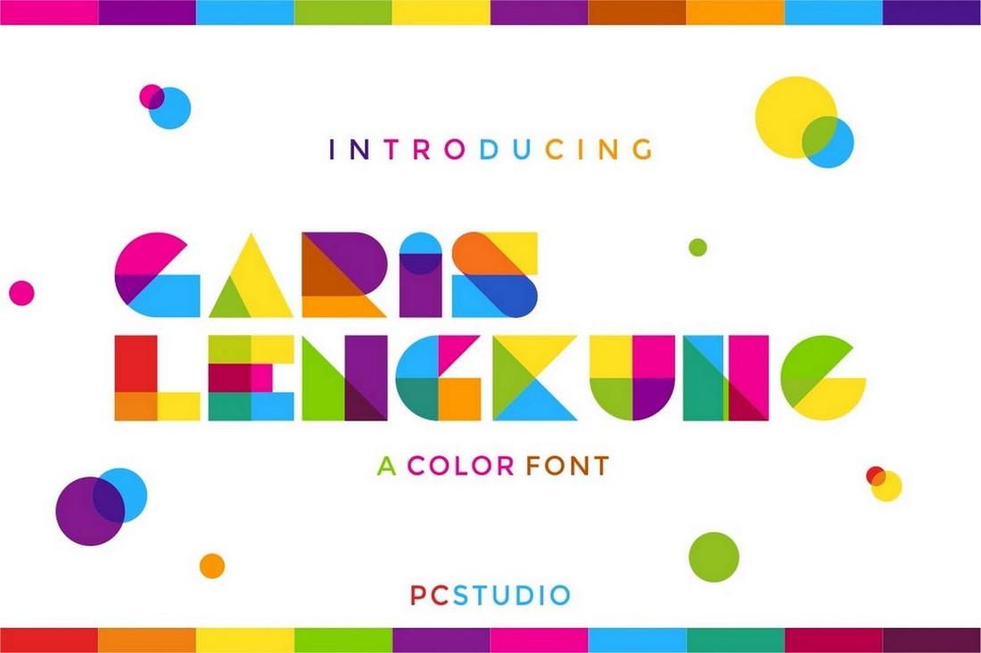 Garis Lengkung - Colorful Font