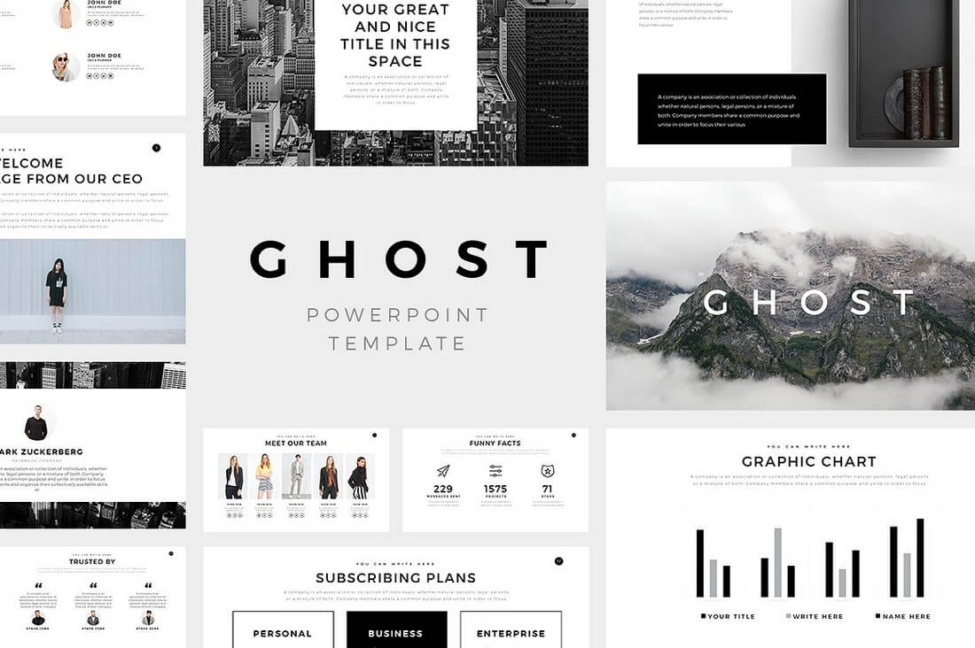 60 beautiful premium powerpoint presentation templates design shack ghost minimal powerpoint template toneelgroepblik Choice Image