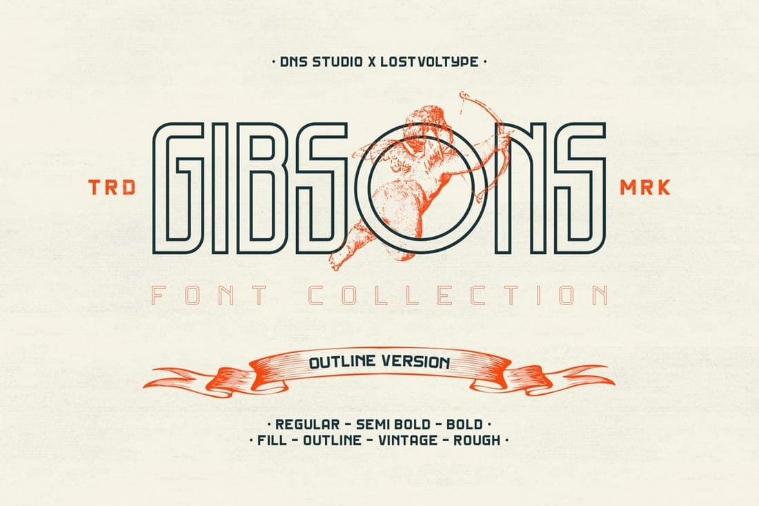 Gibsons - Regular & Outline Fonts