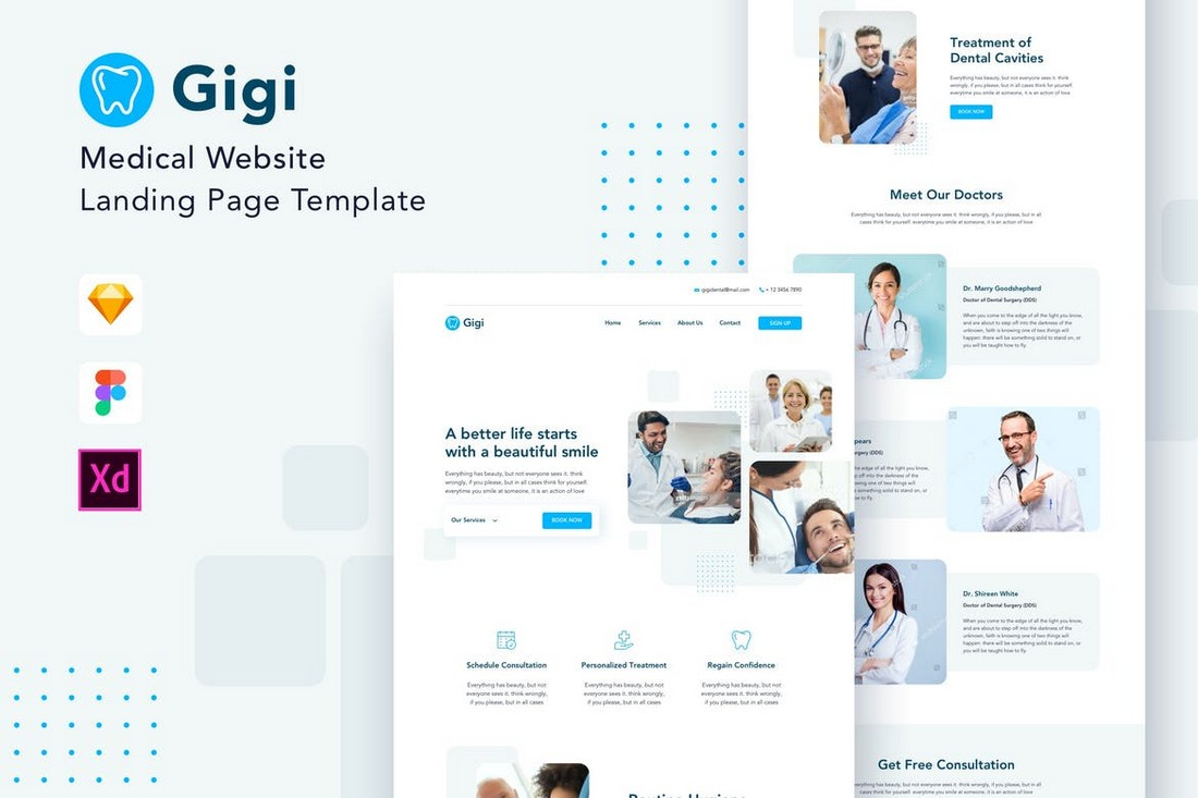 Gigi - Medical Adobe XD Website Template