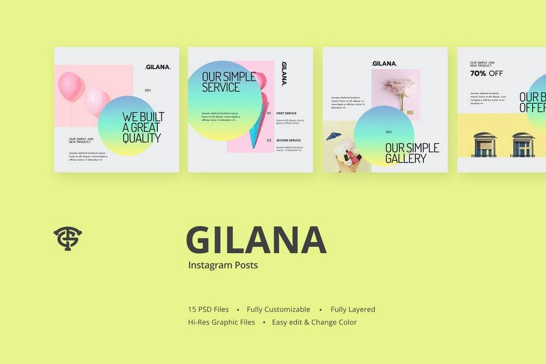 Gilana - Gradient Instagram Post Templates