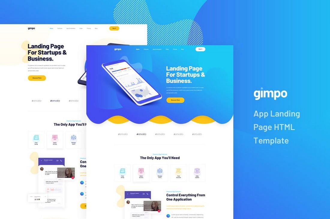 Gimpo-App-Landing-Page-HTML-Template 50+ Best App Landing Page Templates 2021 design tips