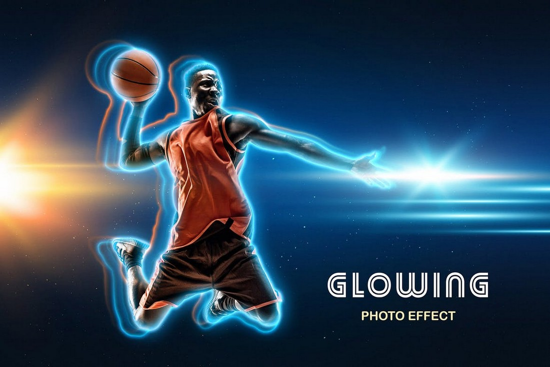 Glowing Outline Photo Effect Photoshop Template
