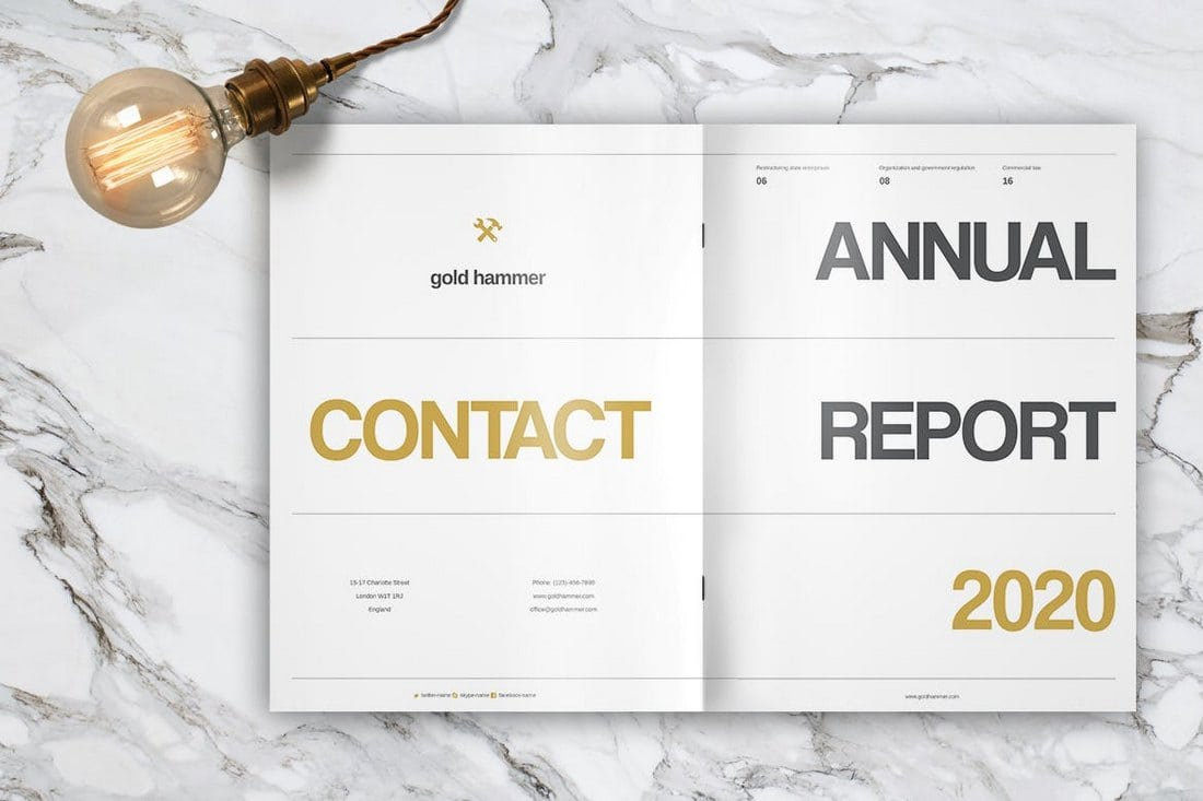 Gold-Hammer-Annual-Report-Template 20+ Annual Report Templates (Word & InDesign) 2018 design tips