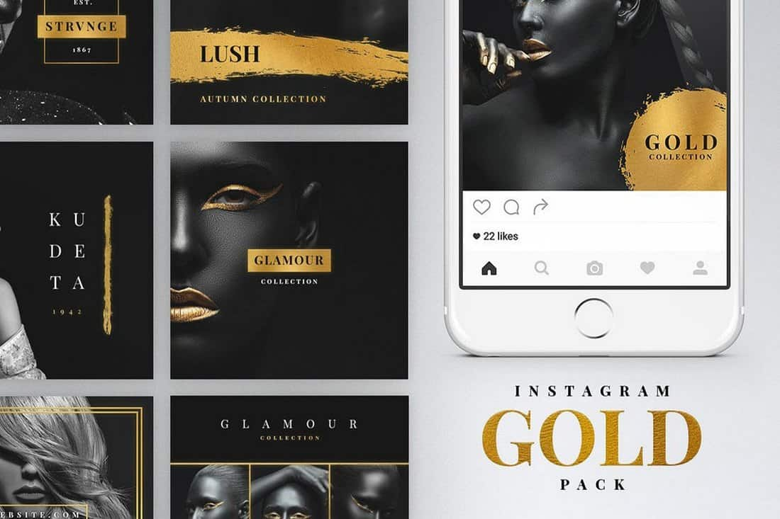 Gold - Luxury Instagram Post & Story Templates