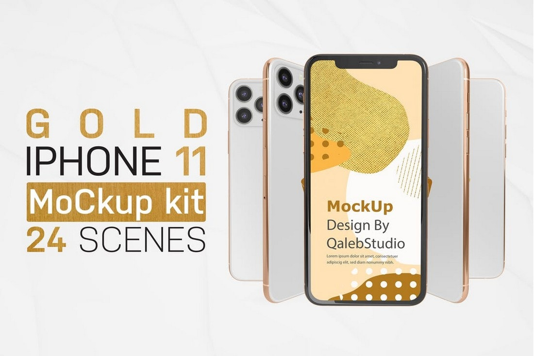 Kit de maqueta de iPhone 11 dorado y blanco
