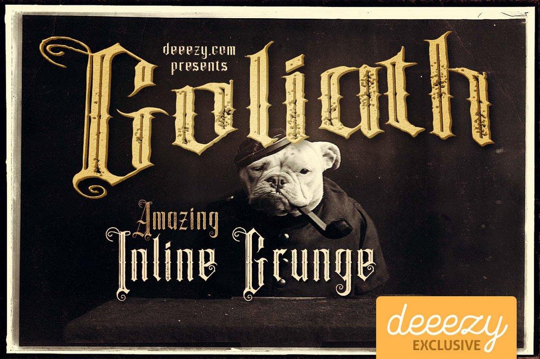 Goliath - Free Inline Grunge Font