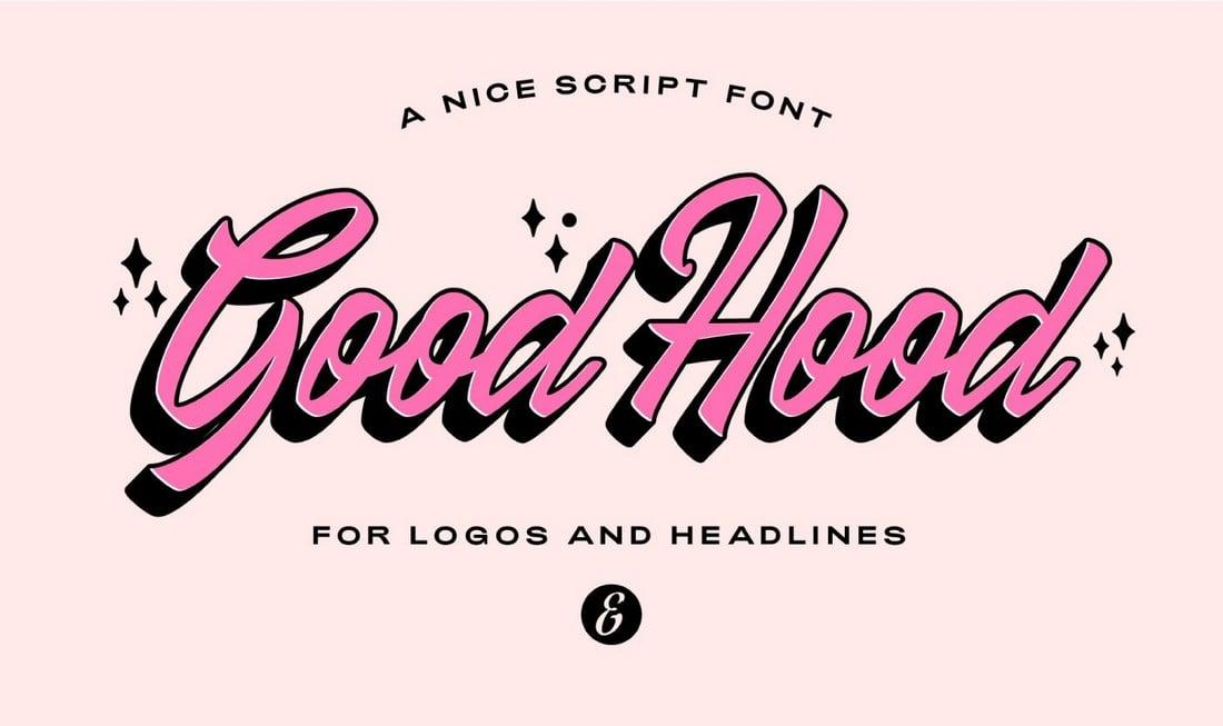 GoodHood-Free-Retro-Script-Font 25+ Best Retro Fonts in 2021 (Free & Premium) design tips