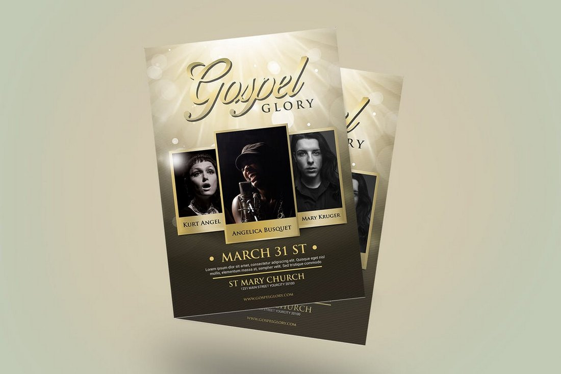 Gospel-Glory-Church-Flyer-Template 20+ Church Bulletin & Newsletter Templates design tips