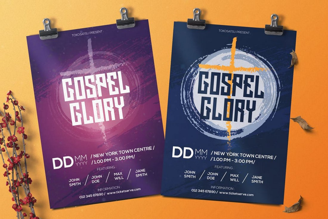 Gospel-Music-Flyer-Bulletin-Template 20+ Church Bulletin & Newsletter Templates design tips