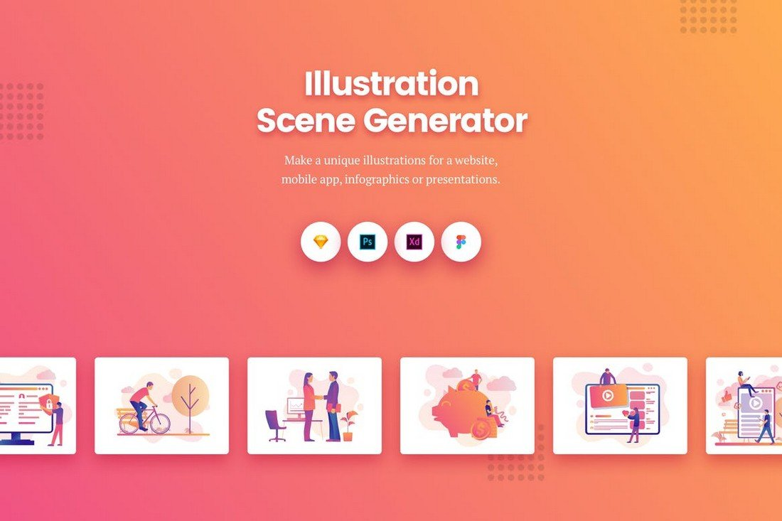 Gradient Illustration Scene Generator Kit