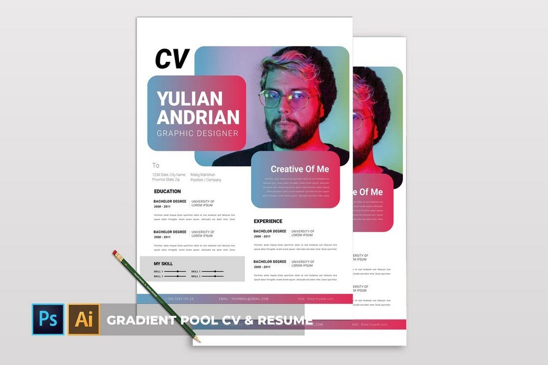 Gradient Pool - CV & Resume Template for Designers