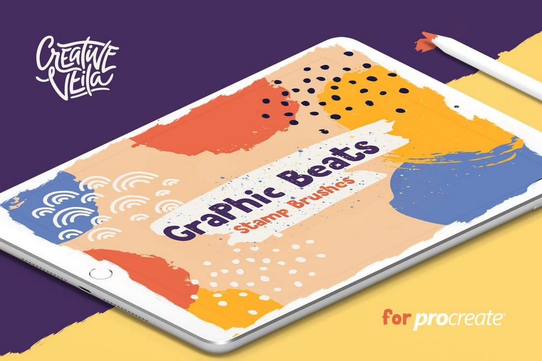 Graphic-Beats-Stamp-Brushes-for-ProCreate 30+ Best Procreate Brushes 2020 (Free & Pro) design tips
