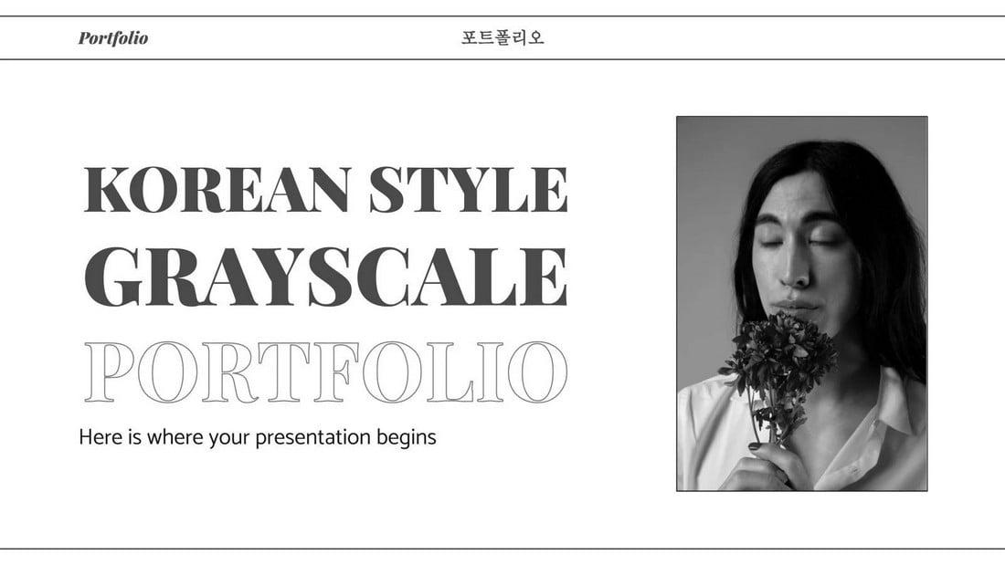 Grayscale Portfolio Free Minimal PowerPoint Template