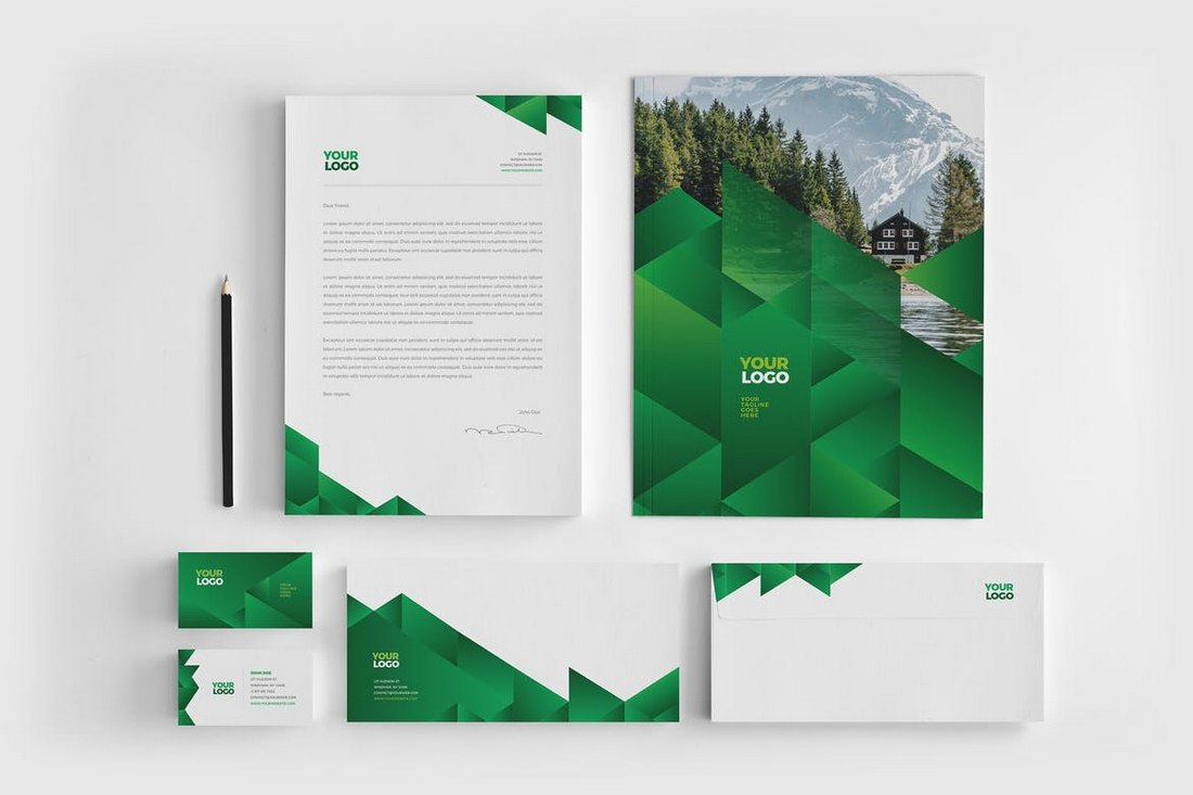 Green Ecologic Stationery Template