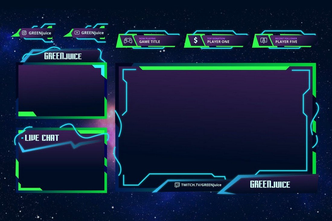 Green Juice - Twitch Overlay Template