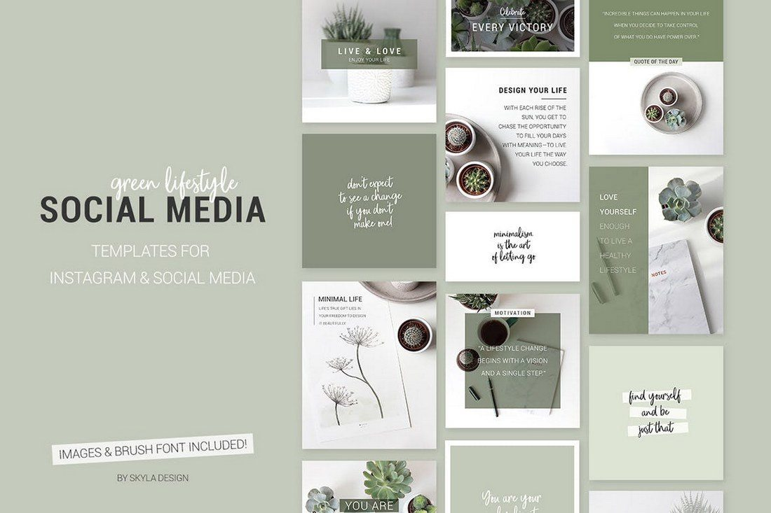Green-lifestyle-Social-Media-templates 20+ Best Social Media Kit Templates & Graphics design tips