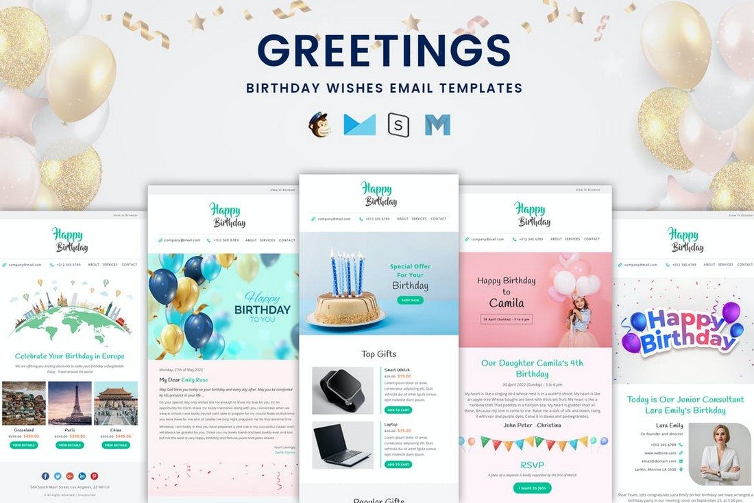 Greetings - Birthday Wishes Email Templates Bundle