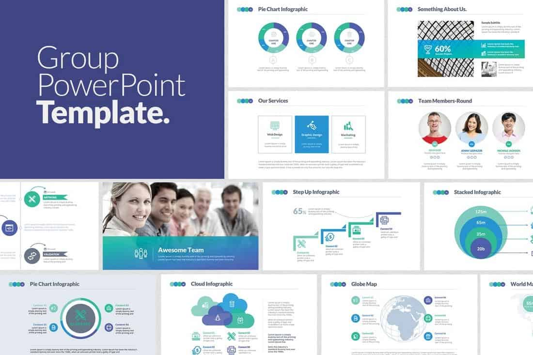 Group - Team Presentation PowerPoint Template