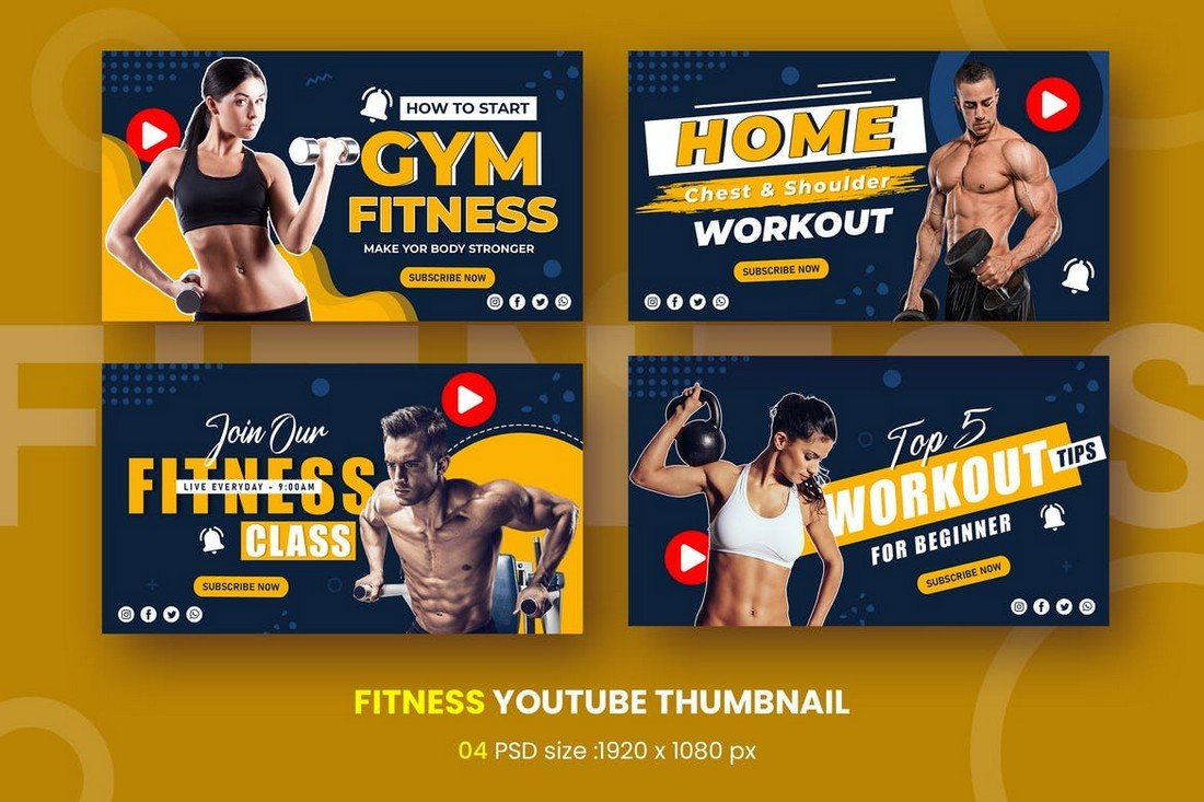 Gym Fitness Youtube Thumbnail Templates