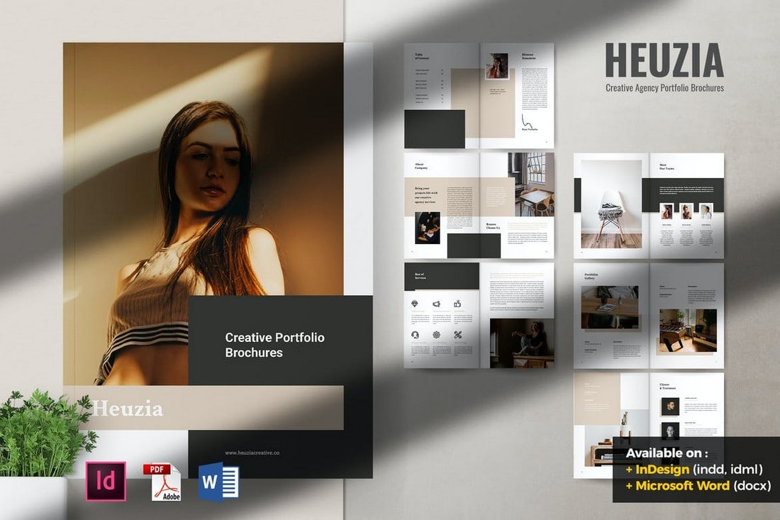 HEUZIA Creative Agency Portfolio Word Brochure