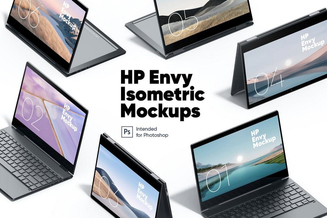 HP Envy Isometric Laptop Mockups