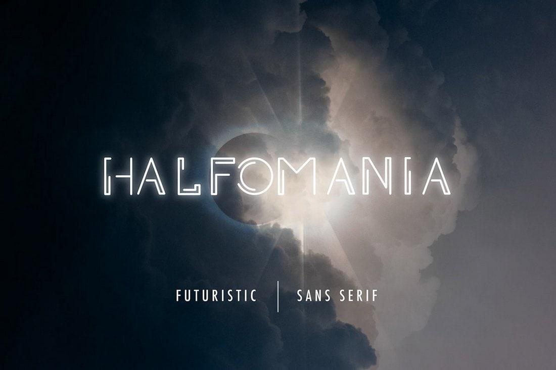 Halfomania - Free Outline Sans Serif Font