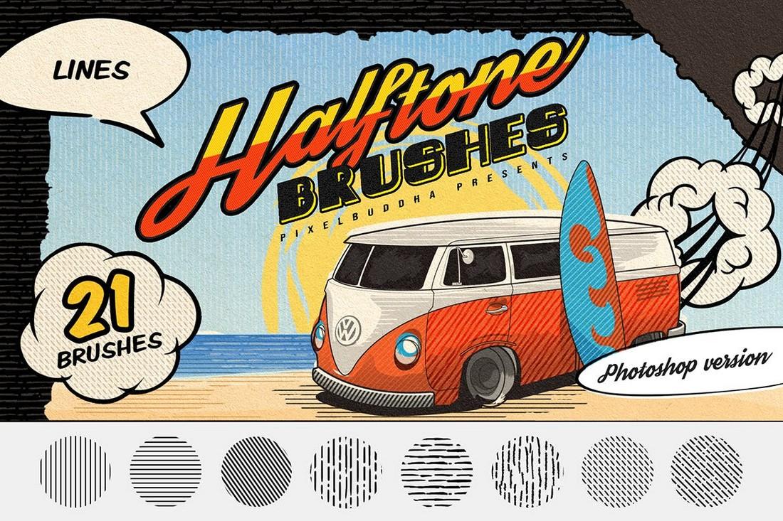 Halftone Lines - Vintage Photoshop Brushes