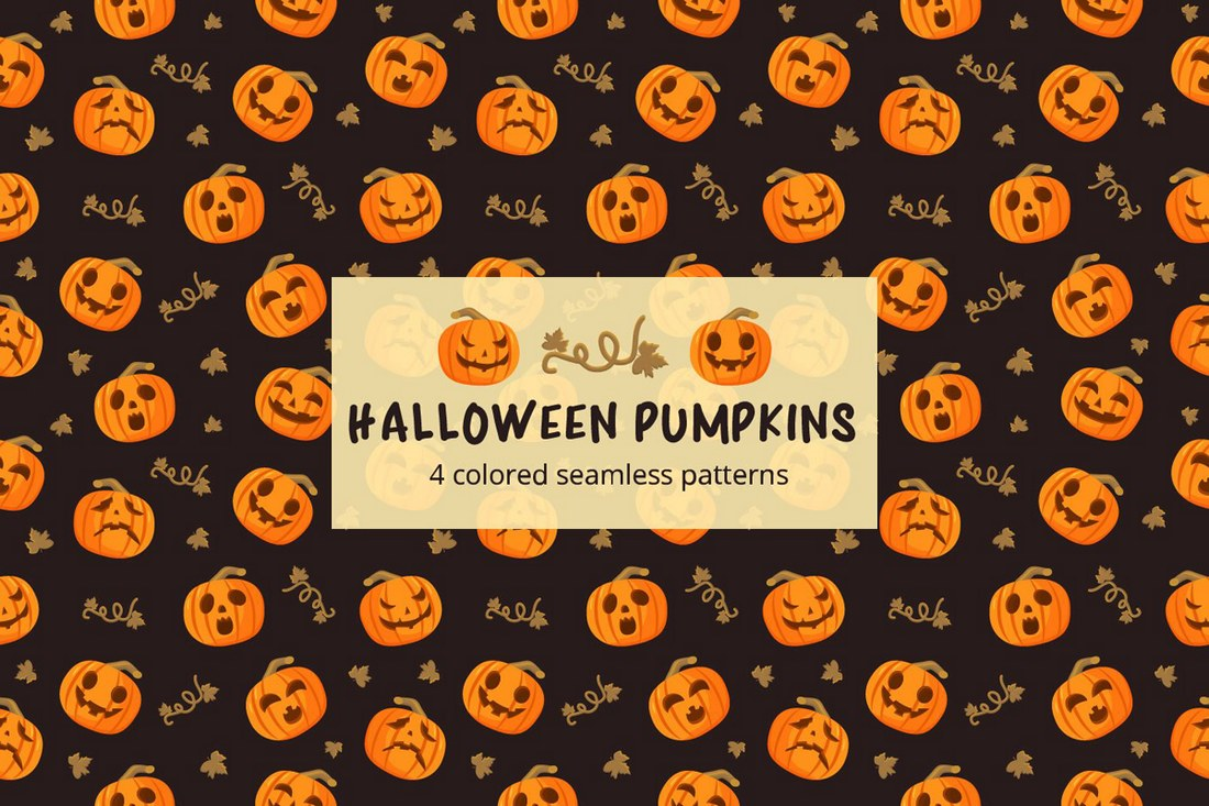 Halloween-Pumpkins-Seamless-Free-Pattern 50+ Best Free Photoshop Patterns 2021 design tips