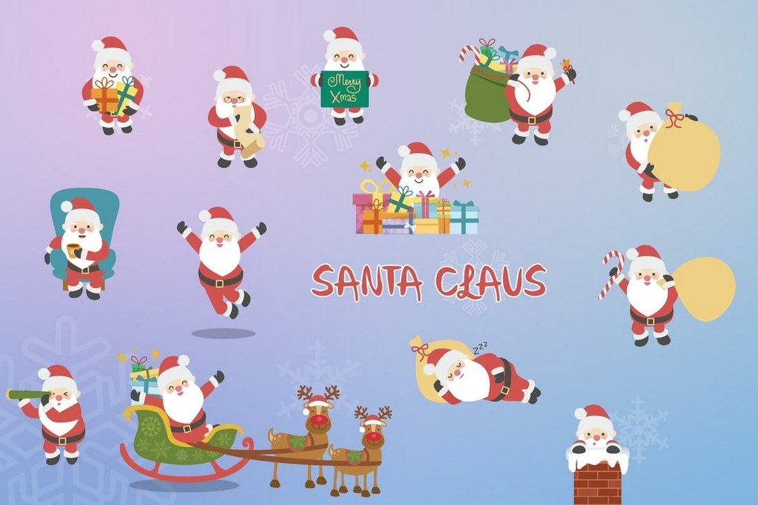 Hand Drawn Santa Clause Illustrations