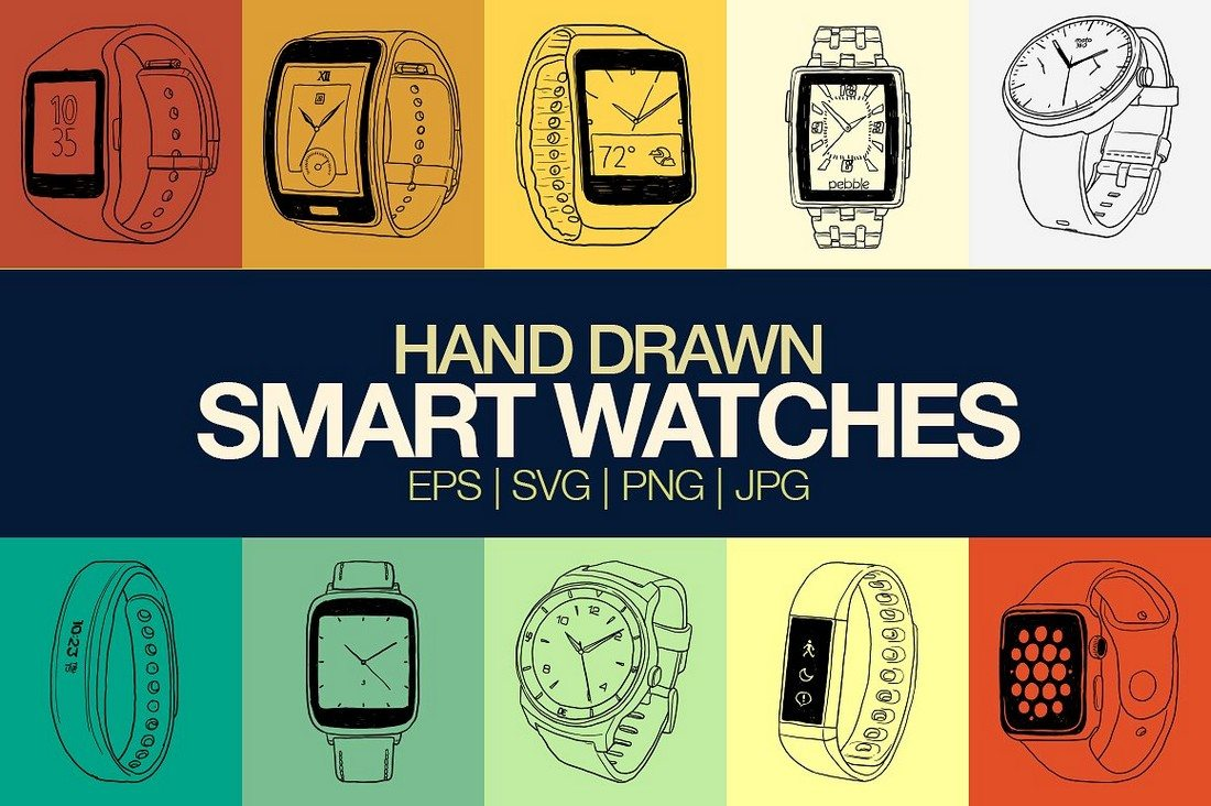Handdrawn-Smartwatch-Mockups 50+ Apple Watch Mockups & Graphics design tips