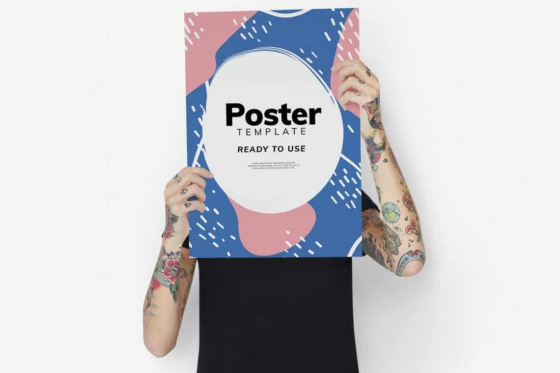 Hands Holding Poster Mockup Template