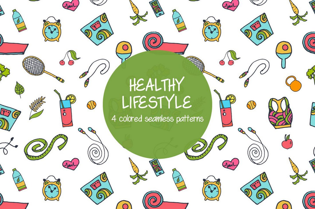 Healthy Lifestyle Seamless Free Pattern