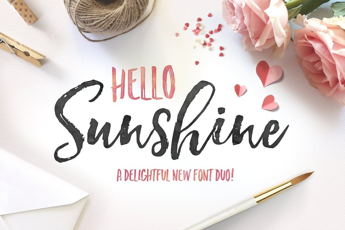 Hello-Sunshine-Font-Duo 100+ Beautiful Script, Brush & Calligraphy Fonts design tips