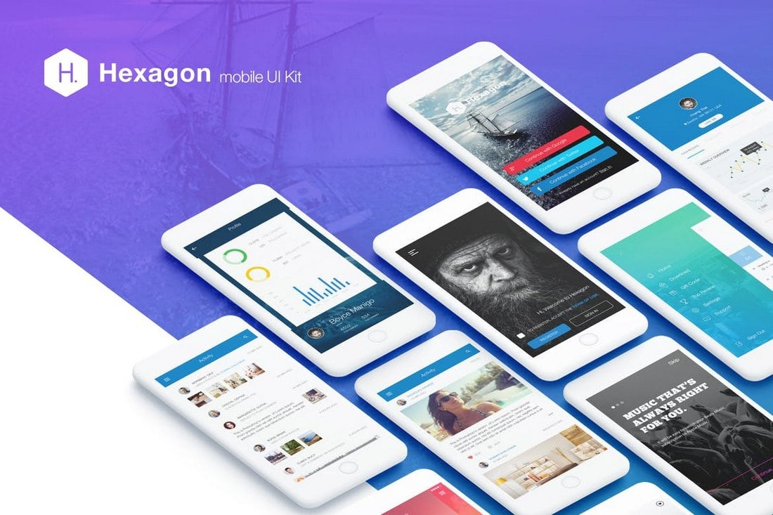 Hexagon - Mobile UI Kit Sketch Templates