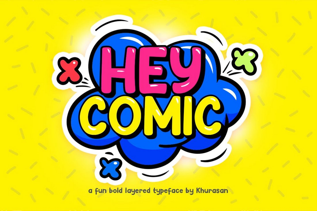 Hey-Comic-Fun-Bold-Layered-Font 30+ Best YouTube Fonts (For Thumbnails + Videos) 2020 design tips