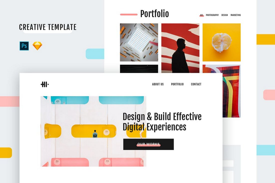 Hi Creative PSD & Sketch Template