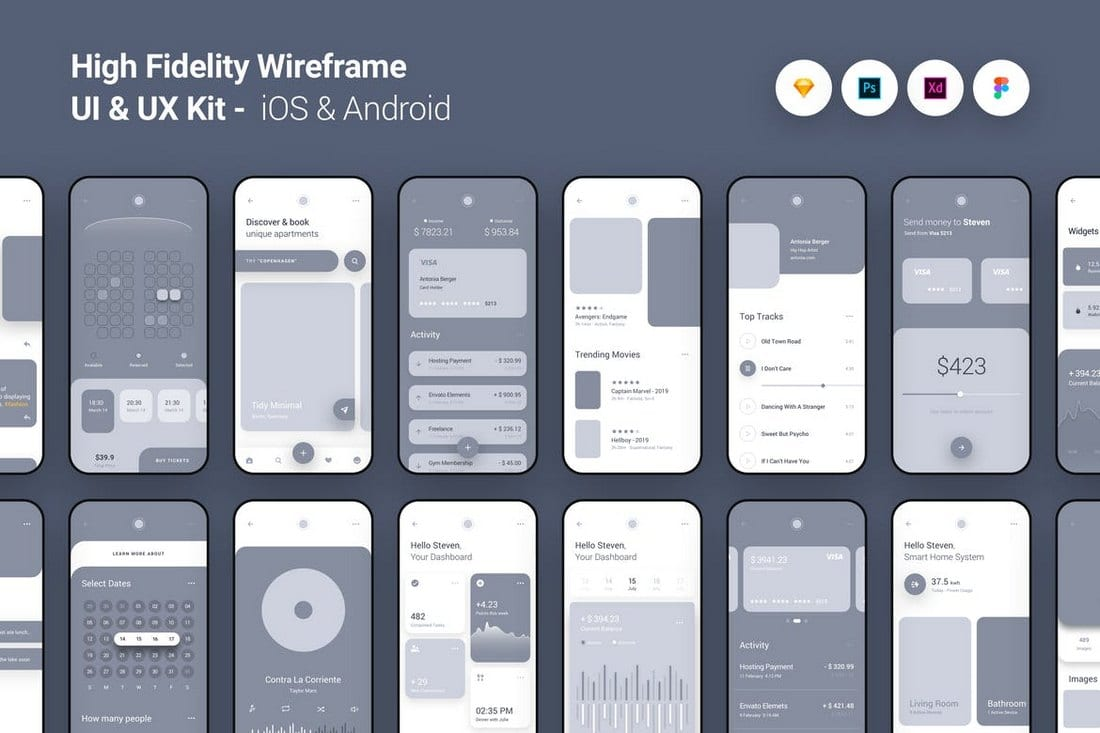 High Fidelity Wireframe UI Kit for iOS & Android
