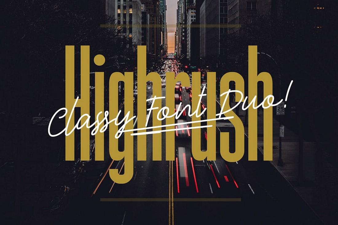 Highrush - Condensed & Script Font Duo