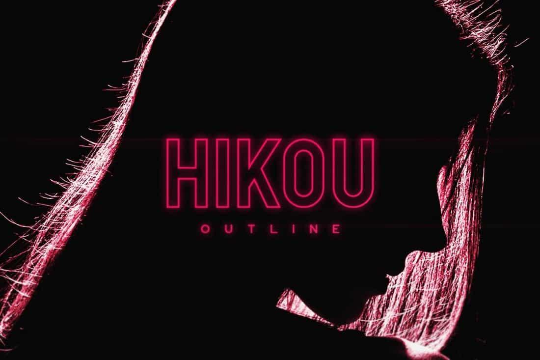 Hikou - Stylish Outline Font