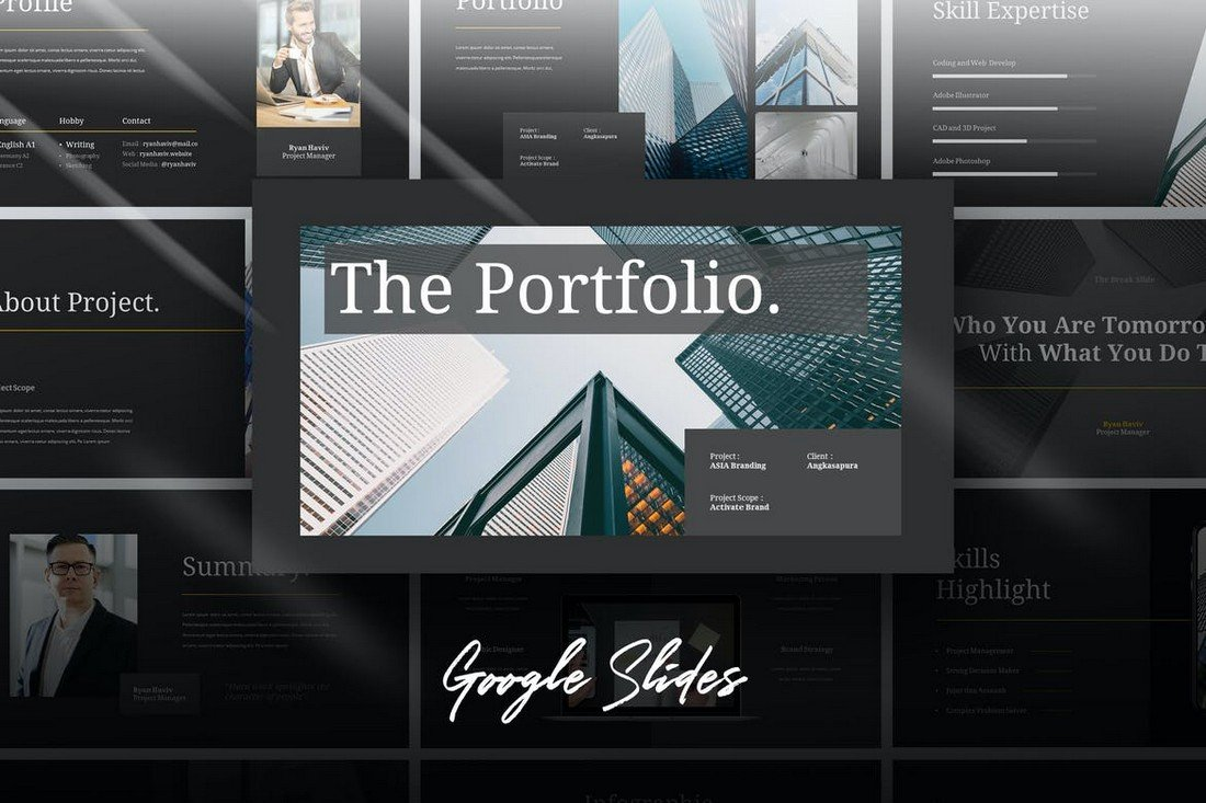 Hire-Business-Portfolio-Powerpoint-Template 25+ Best PowerPoint Portfolio Templates 2020 design tips