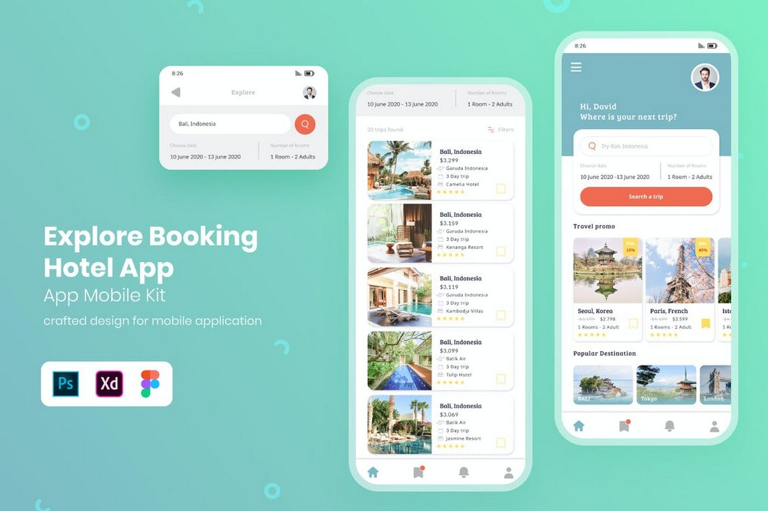 Hotel-Booking-App-UI-Kit-for-Adobe-XD 30+ Best Adobe XD UI Kits + Templates 2020 design tips