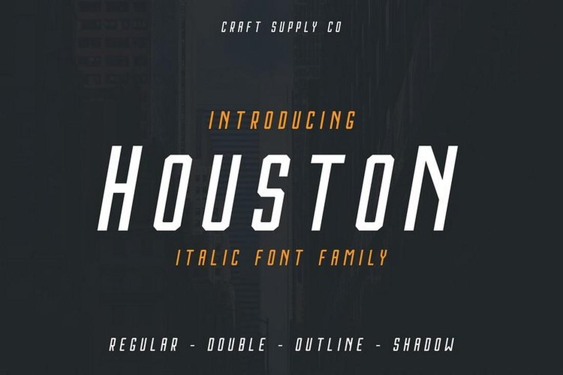 Houston Italic - Free Outline & Shadow Font
