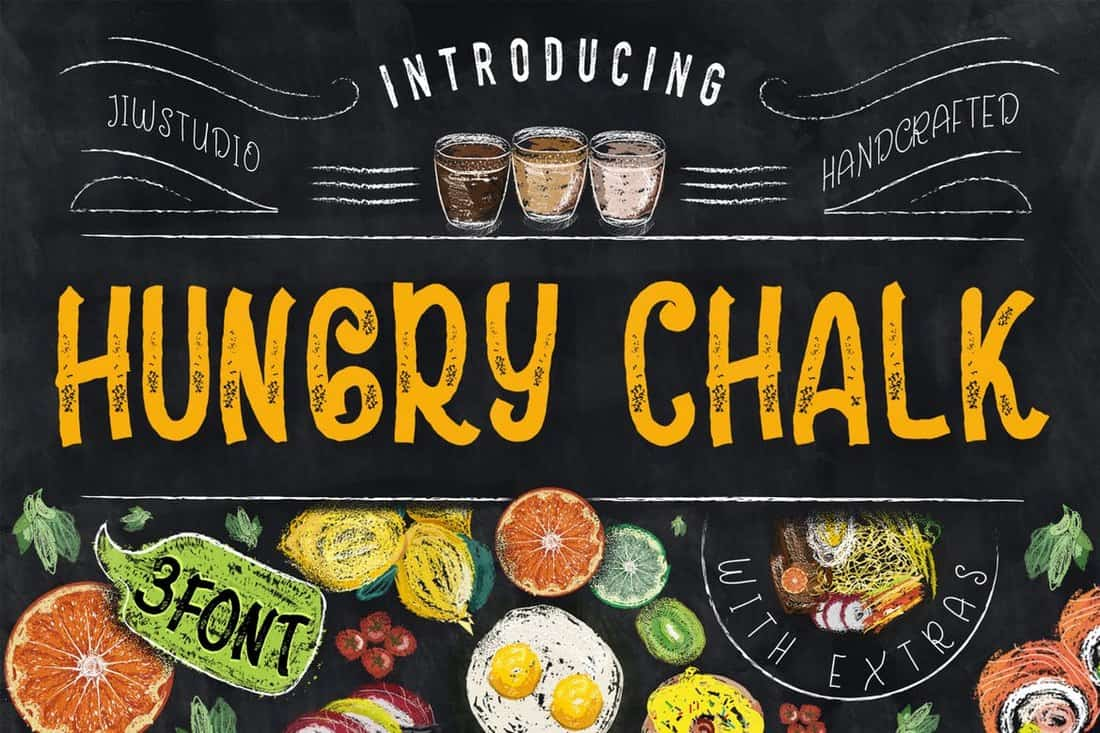 Hungry Chalk Typeface & Extras
