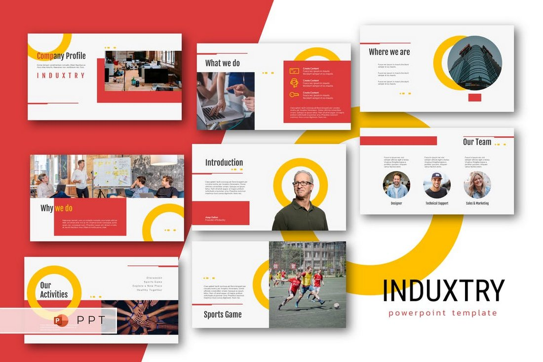 INDUXTRY-Company-Profile-Powerpoint-Template 20+ Best Company Profile Templates (Word + PowerPoint) design tips  Inspiration|company profile