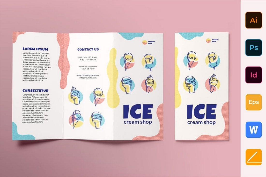 Ice Cream Shop Brochure Trifold