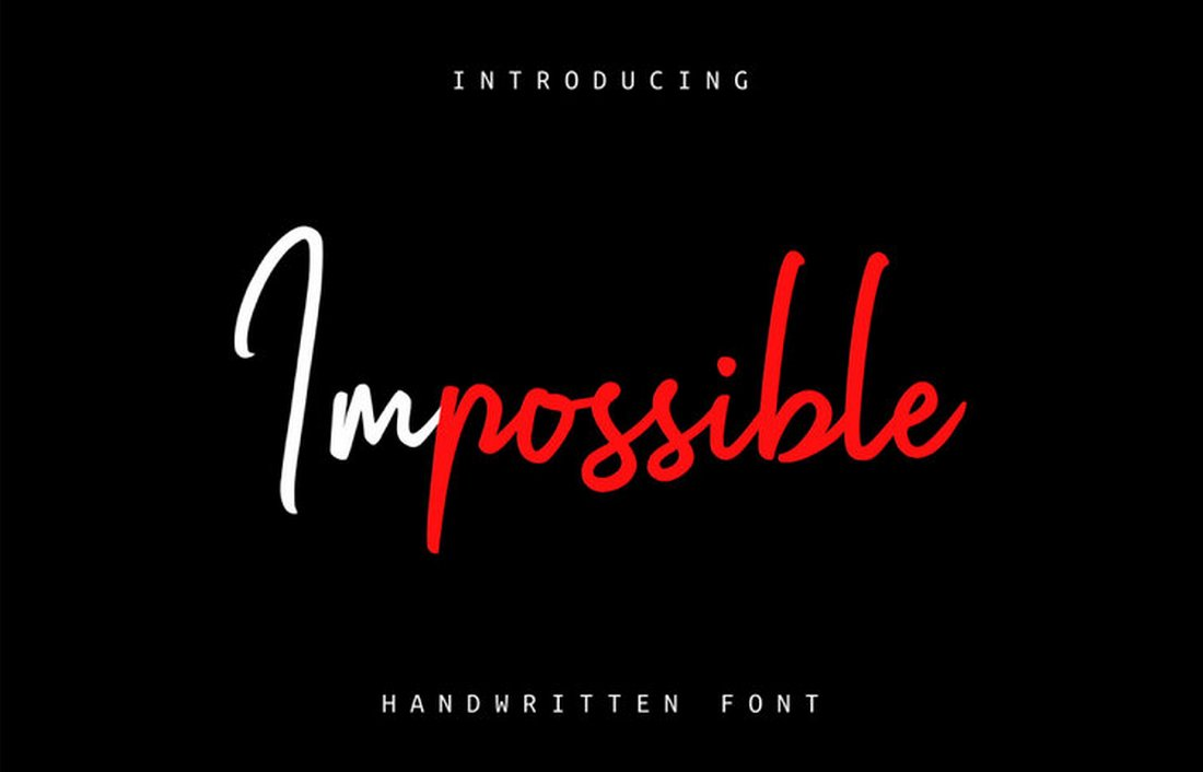 Impossible-Free-Elegant-Handwritten-Font 50+ Best Hand Lettering & Handwriting Fonts 2021 design tips