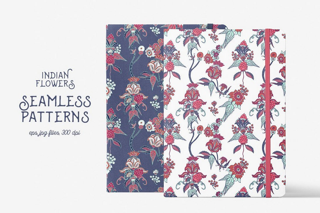 Arrière-plans de motifs de fleurs indiennes