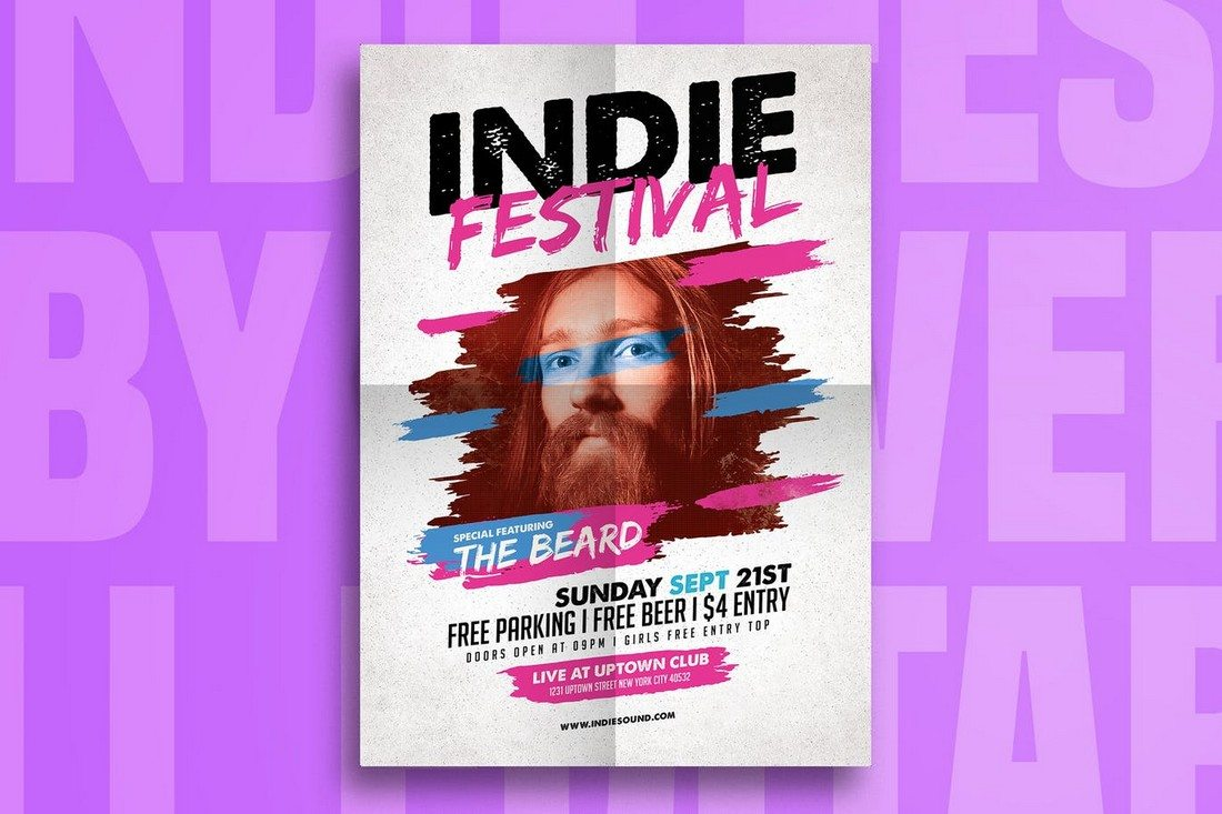 Indie-Fest-Music-Flyer 30+ Best Music & Band Flyer Templates design tips